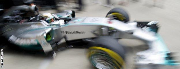 Lewis Hamilton in Mercedes F1 car
