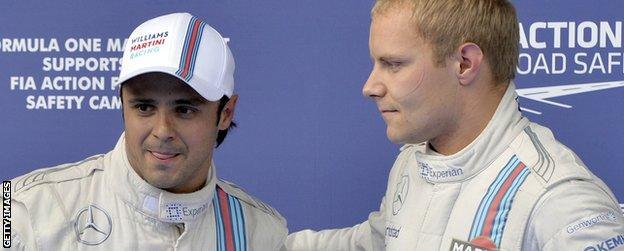 Felipe Massa (L) and Williams team-mate Valtteri Bottas