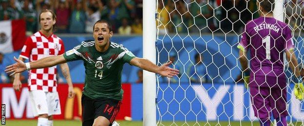 Mexico striker Javier Hernandez celebrates scoring against Croatia