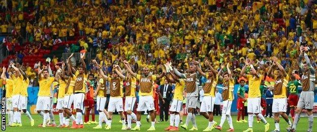 Brazil and fans at the Estadio Nacional