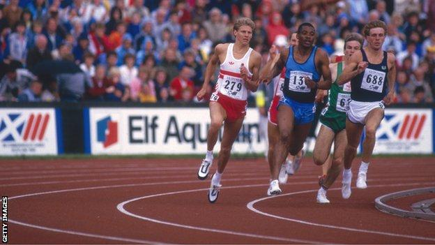 Steve Cram on his way to winning the 800m for England at the Commonwealth Games in Edinburgh in 1986