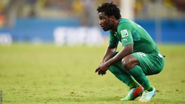 Swansea City's Wilfried Bony looks on following Ivory Coast's World Cup exit. The striker came on as a substitute to score against Greece, but his side lost 2-1