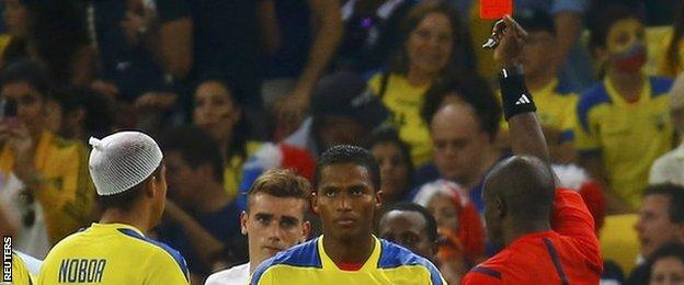 Ecuador captain Antonio Valencia is red carded during the game against France