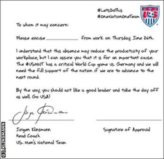 Jurgen Klinsmann tweeted this letter asking employers to excuse United States fans so they can watch the game against Germany