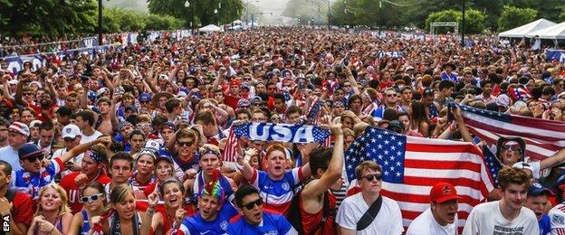 USA fans gather in Chicago to watch their team in action in Brazil