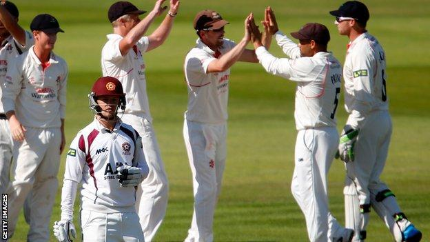 Northants' Ben Duckett is removed by Lancashire