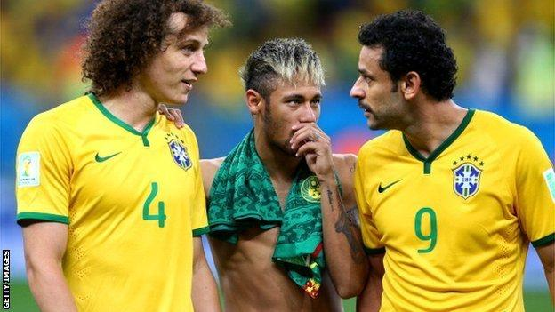 David Luiz, Neymar and Fred after Monday's game against Cameroon