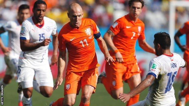 Arjen Robben in action against Chile