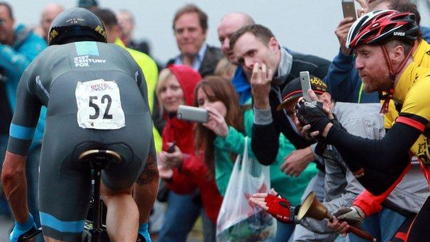 Fans are delighted to see Sir Bradley Wiggins in action at Celtic Manor