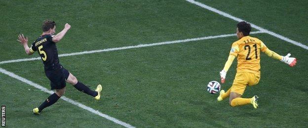 Belgium defender Jan Vertonghen scores for his side against South Korea