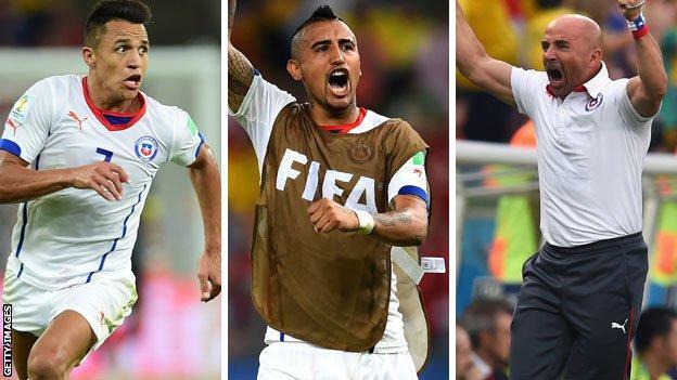 Sanchez, Vidal and Jorge Sampaoli