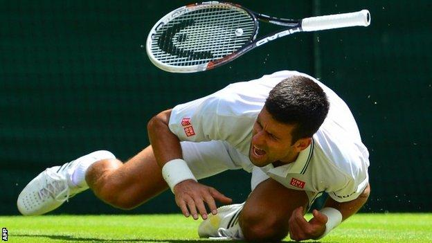 Novak Djokovic landed awkwardly on this shoulder