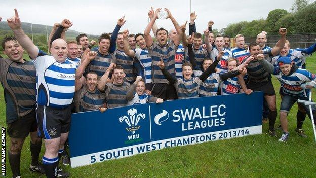 Ystradgynlais celebrate after winning Swalec League Division 5 South West
