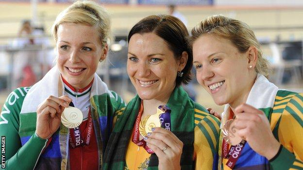 Becky James (left) won silver and bronze for Wales at the 2010 Commonwealth Games in Delhi