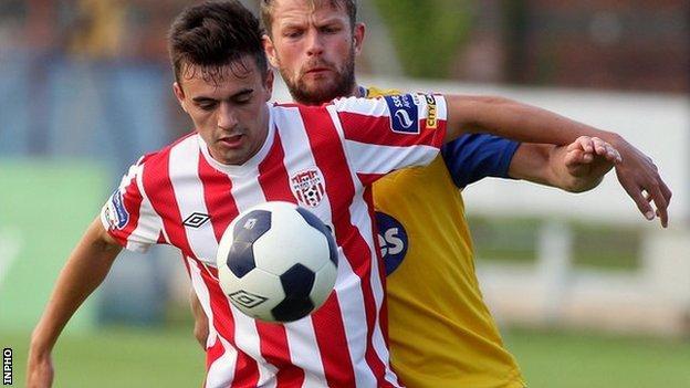 Derry City's Mark Timlin shields the ball from Dundalk's Dane Massey