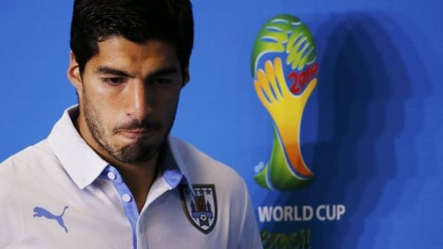 Uruguay player Luis Suarez attends a news conference prior to a training session at the Dunas Arena soccer stadium in Natal on 23 June