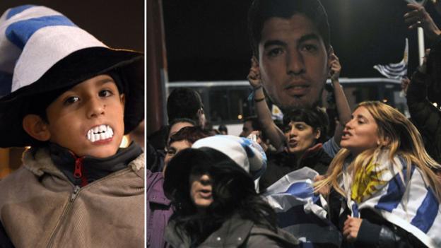 Fans wait for Luis Suarez at Uruquay airport