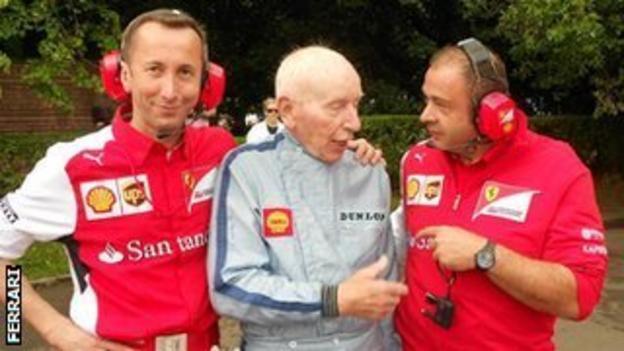 Ferrari staff with F1 legend John Surtees at Goodwood