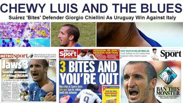 Luis Suarez headlines in top the Huffington Post, and from left to right Metro, Daily Mirror and Daily Telegraph