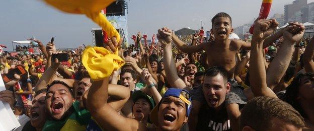 Brazil fans at Copacabana beach in Rio