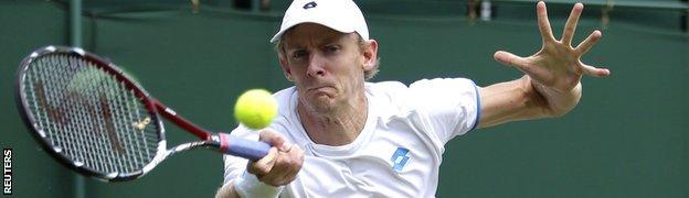 Kevin Anderson playing at Wimbledon