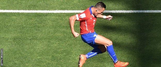 Alexis Sanchez celebrates his goal