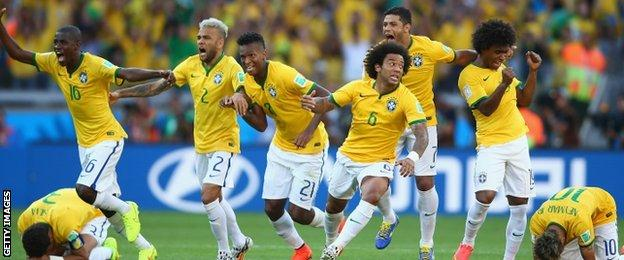 Brazil players celebrate after Gonzalo Jara misses the final penalty