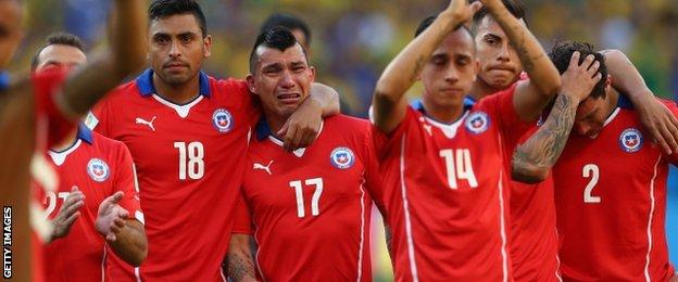 Chile team after the penalty shootout