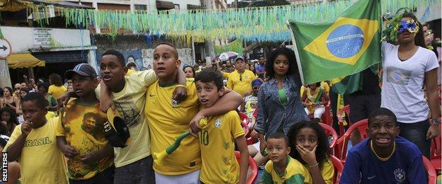 Fans in the streets in Brazil