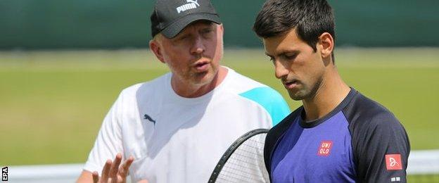 Novak Djokovic and coach Boris Becker