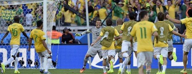Brazil players celebrate