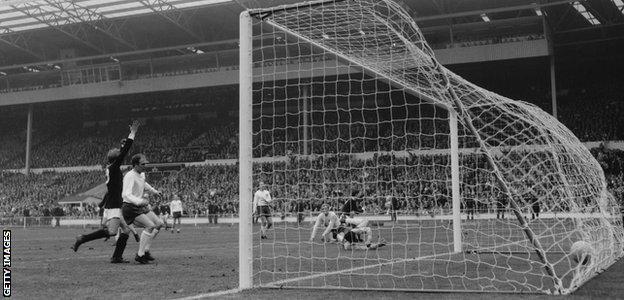 Scotland's Jim McCalliog scores past England's Gordon Banks in 3-2 win at Wembley in 1967