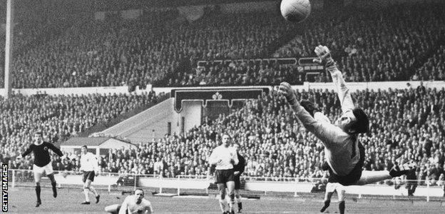 England goalkeeper Gordon Banks makes a brilliant save to deny Denis Law at Wembley in 1967