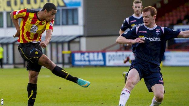 Lyle Taylor nets against Ross County during his loan stint with the Scottish Premiership side