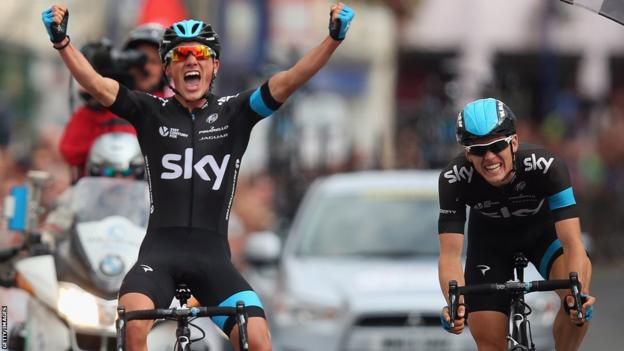 Peter Kennaugh of Team Sky celebrates after beating team mate Ben Swift to win the men's British Cycling National Championships road race in Abergavenny