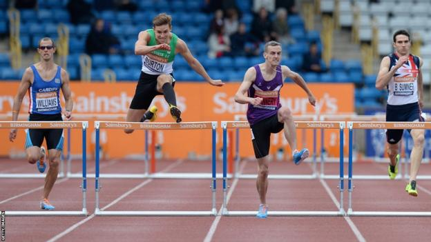 Welsh 400m hurdler Rhys Williams (left) finishes fourth at the British Championships in Birmingham