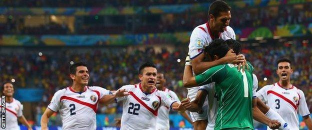 Costa Rica players celebrate