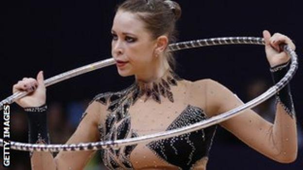 Frankie Jones competes in the hoop event at London 2012