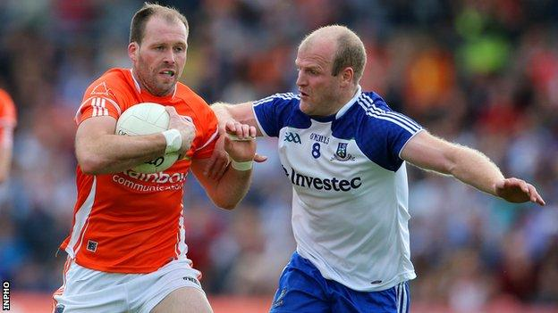 Ciaran McKeever and Dick Clerkin in action in the Ulster semi-final