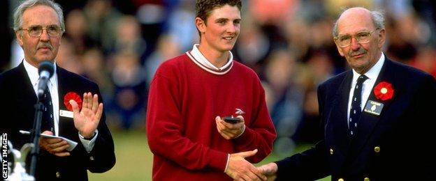 In 1998, leading amateur Justin Rose (centre) receives the silver medal after the British Open at Royal Birkdale Golf Club in Lancashire