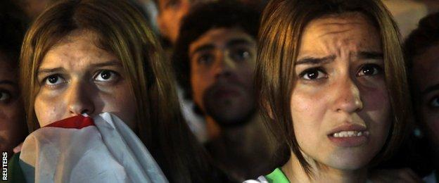 Algerian fans could not hide their disappointment after Germany scored their second goal