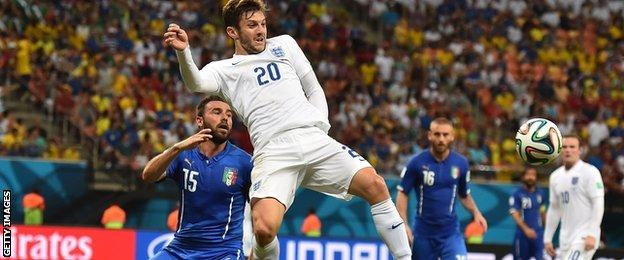 Adam Lallana in action for England