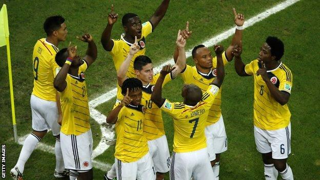Colombia celebrate scoring against Uruguay on 28 June