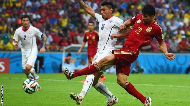 Diego Costa played for Spain against Chile