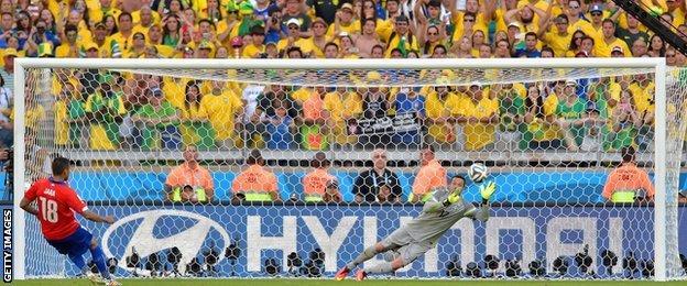 Gonzalo Jara misses his decisive penalty kick against Brazil