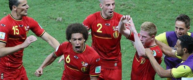 Kevin De Bruyne celebrates his opener for Belgium