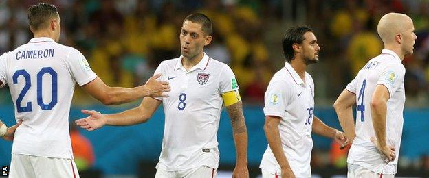 Clint Dempsey and Geoff Cameron of USA