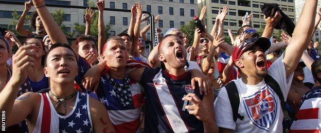 USA fans watch USA v Belgium 2014 World Cup