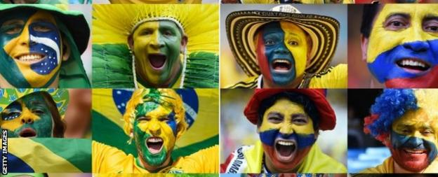 Brazil and Colombia fans