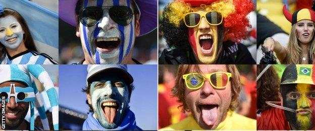 Argentina and Belgium fans